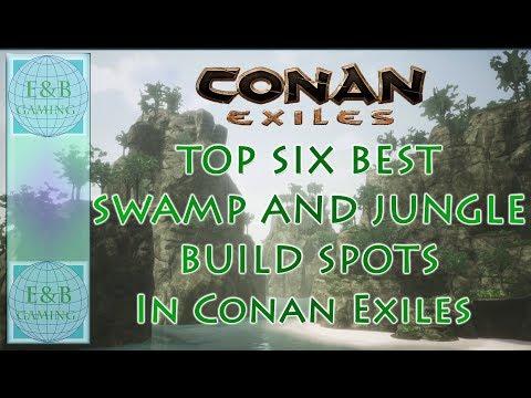 Conan Exiles - LAUNCH - TOP 6 BEST JUNGLE/SWAMP BUILD SPOTS - Live Conan Exiles