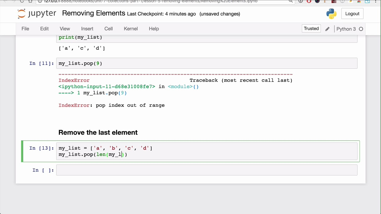 Removing Elements Lesson - Base Python Track