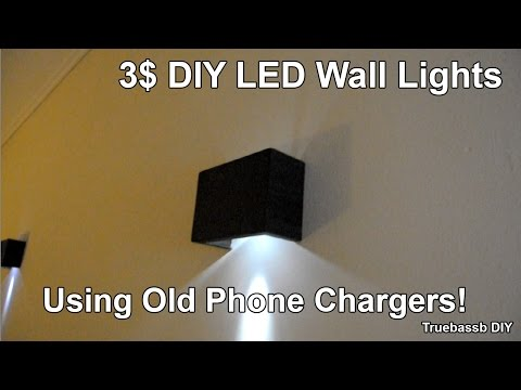 3$ DIY Led Wall Sconces using Old Phone Chargers
