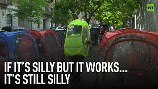 Better silly than sorry   New Yorkers bring PPE to a new level