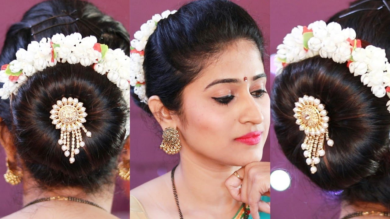 Simple जुडा Hairstyles गजरा वापरून | 2 Juda hairstyles Without donut bun & with donut bun - YouTube