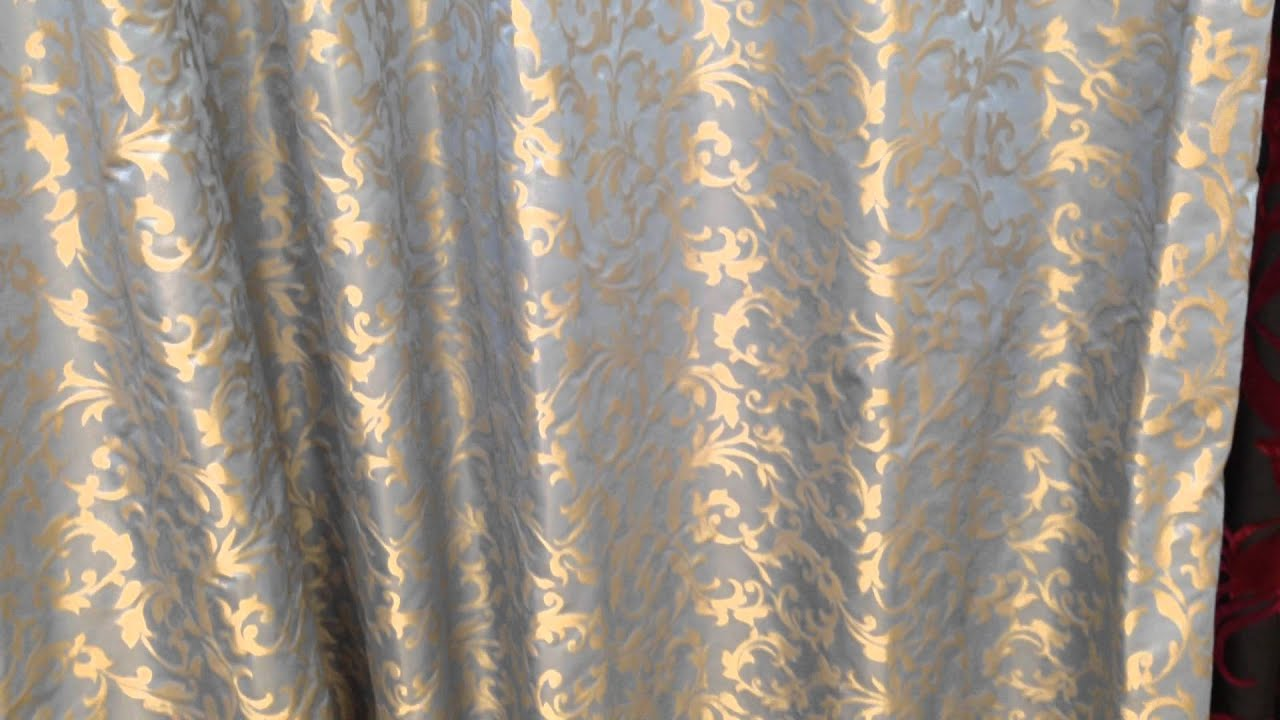 Brand-new Powder Blue Silk with Gold Climbing Leaf Ready Made Curtains - YouTube QP21