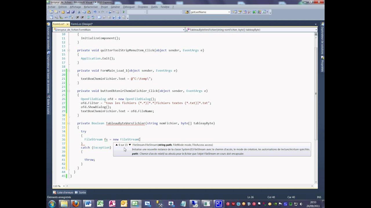 Tutoriel 49 Broyeur de fichier en C# en français quatrième partie