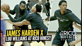 James Harden's One Legged Side-Step Is UNSTOPPABLE! Hoodie Harden & Lou at Rico Hines Runs!