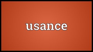 Usance Meaning
