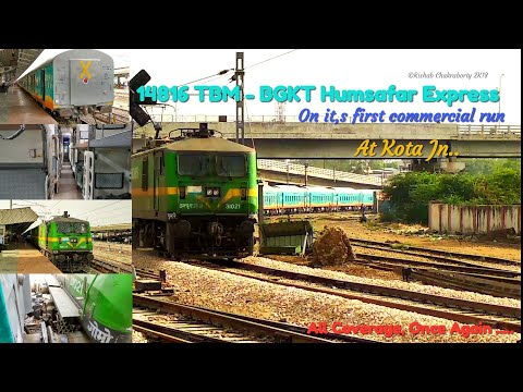14816 TBM - BGKT Humsafar Express On its First Commercial Run, All Coverage at Kota Jn.