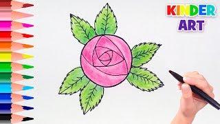 Как просто нарисовать розу поэтапно для детей | How to draw a rose easy step by step