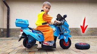 डिमा ने एक नई नीली मोटरसाइकिल को अनपैक किया और ड्राइव के लिए चली गई।