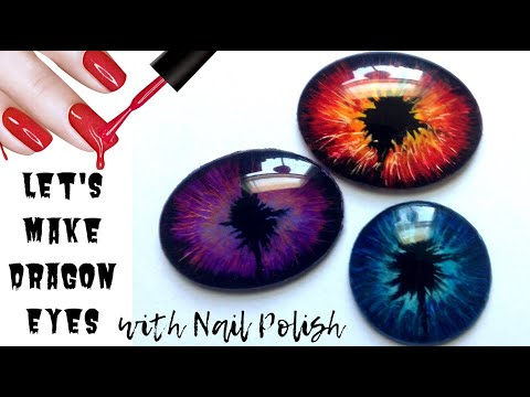 DIY Glass Dragon(Reptile) Eyes with Nail Polish/Making Cabochon Dragon Eyes/Sponsored by NJ Yarn Art