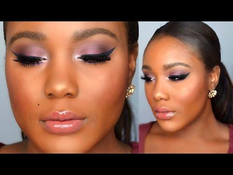 Glam Holiday Makeup Tutorial 2015  // Cranberry Smokey Eye Makeup for Black Women Tutorial