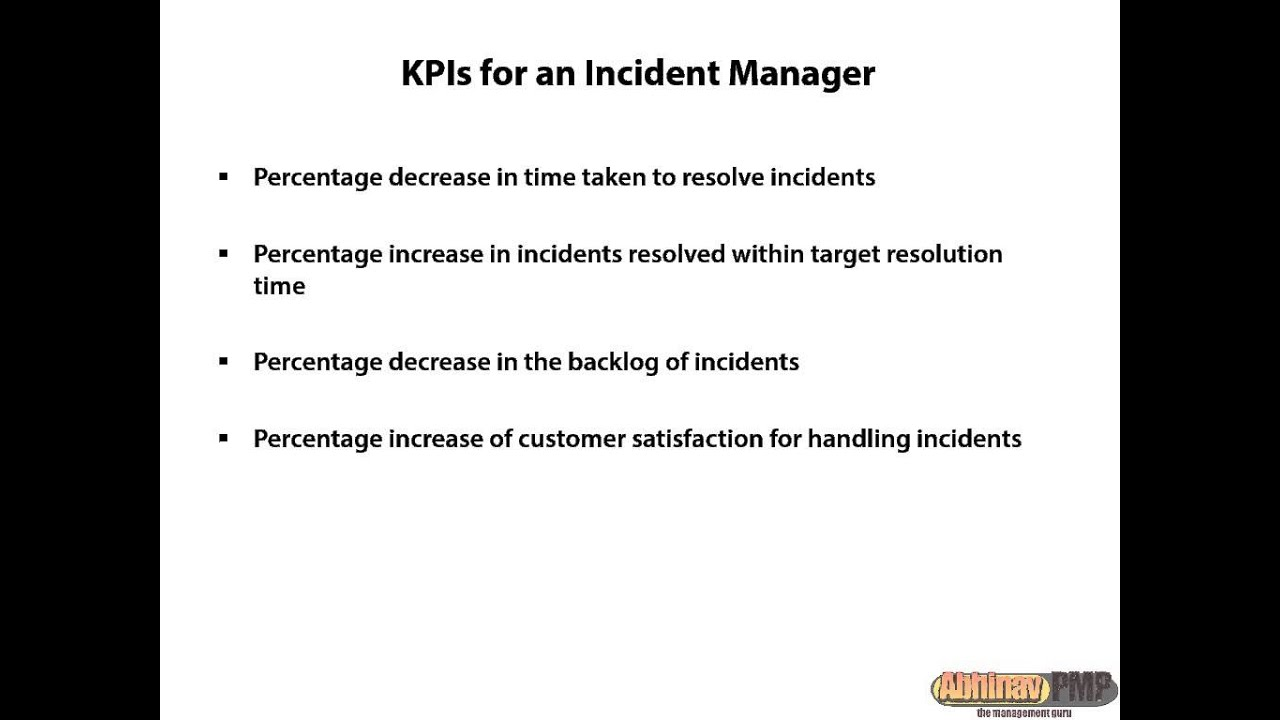 itil incident management kpi KPIs for Incident Managers - YouTube