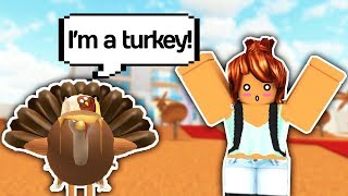 TROLLING PEOPLE AS A TURKEY FOR THANKSGIVING // Roblox Trolling // Roblox Funny Moments