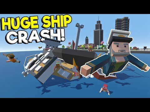 HUGE CARGO SHIP CRASH & RESCUE IN CITY! - Tiny Town VR Gameplay - Oculus Rift Sinking Ship