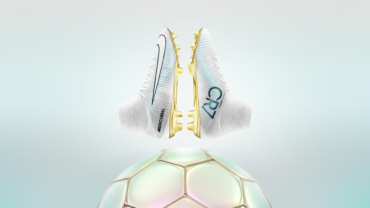 latest cr7 boots gold white
