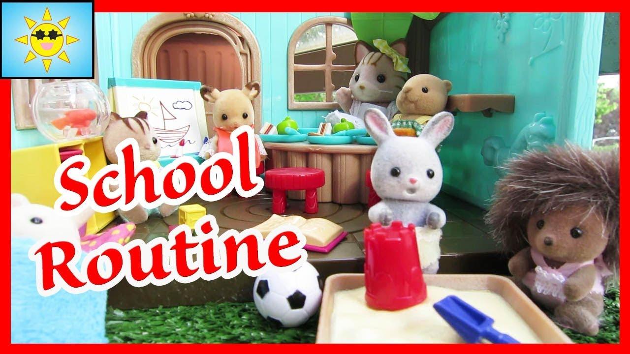 Sebastians First Day Of SCHOOL Routine Calico Critters Sylvanian Families Lil Woodzeez Nursery