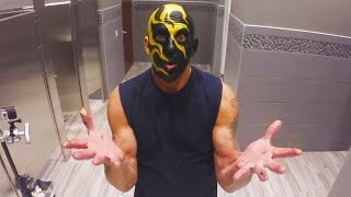 Goldust applies his fiery new face paint in time for Halloween