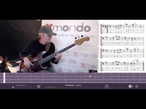 Feel Good Inc. - Gorillaz : bass tabs+notes+fast+slow+fretboard-view