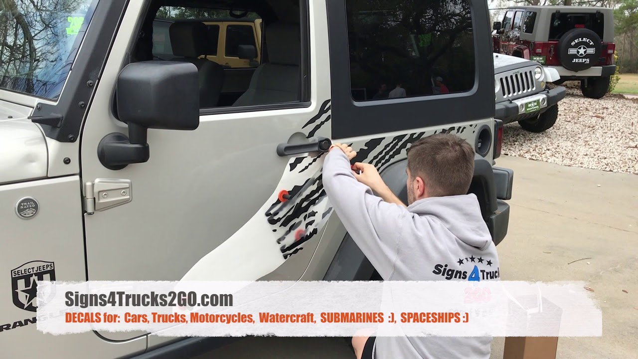 How to install decals mud splash vinyl stickers side jeep wrangler