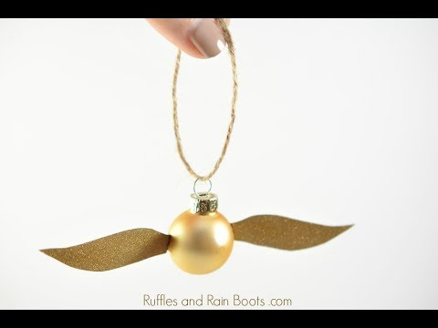 image about Golden Snitch Wings Printable called Uncomplicated Golden Snitch Ornament - Harry Potter Craft - YouTube