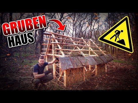 GRUBENHAUS Bushcraft Shelter #010 - Lagerbau - Outdoor Bushcraft Camp | Fritz Meinecke