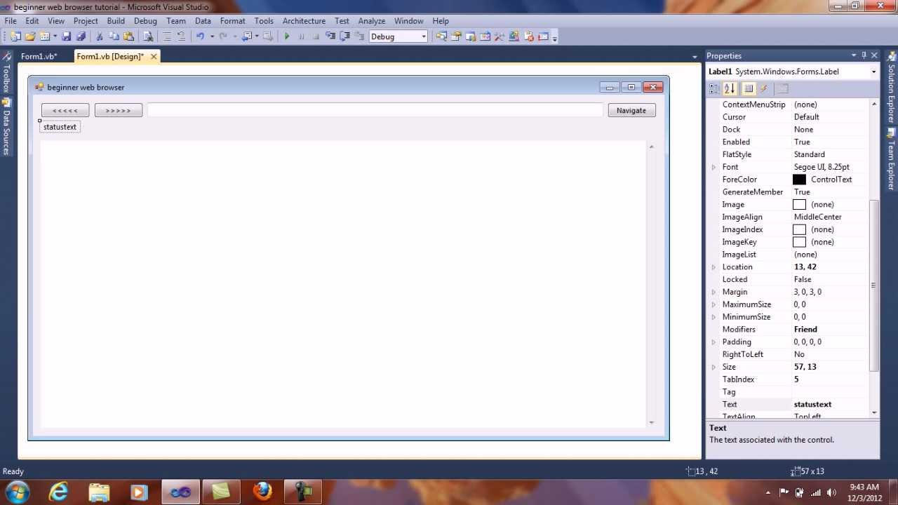 Beginner Web Browser Tutorial - Visual Basic 2010