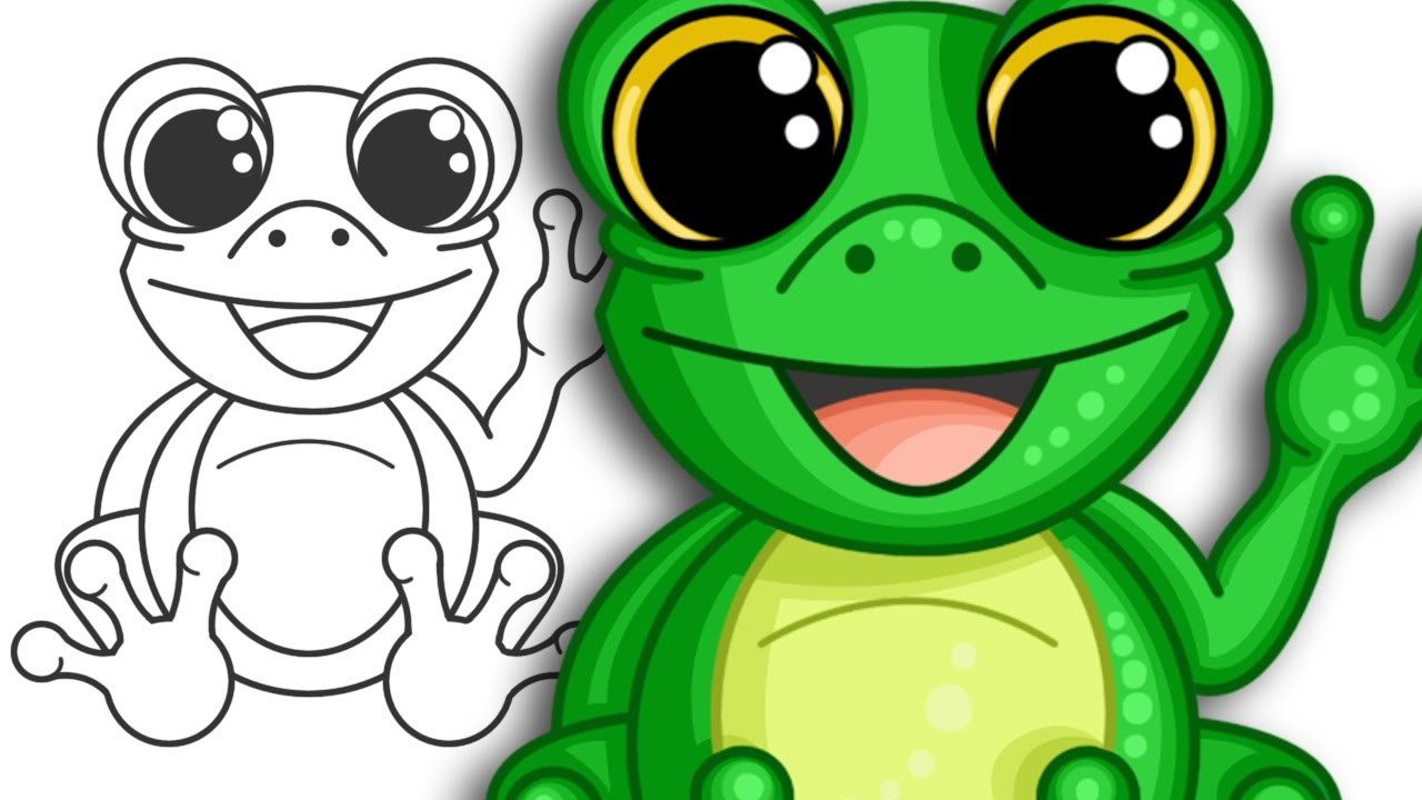 How to draw a super cute frog | Step by Step Drawing - YouTube