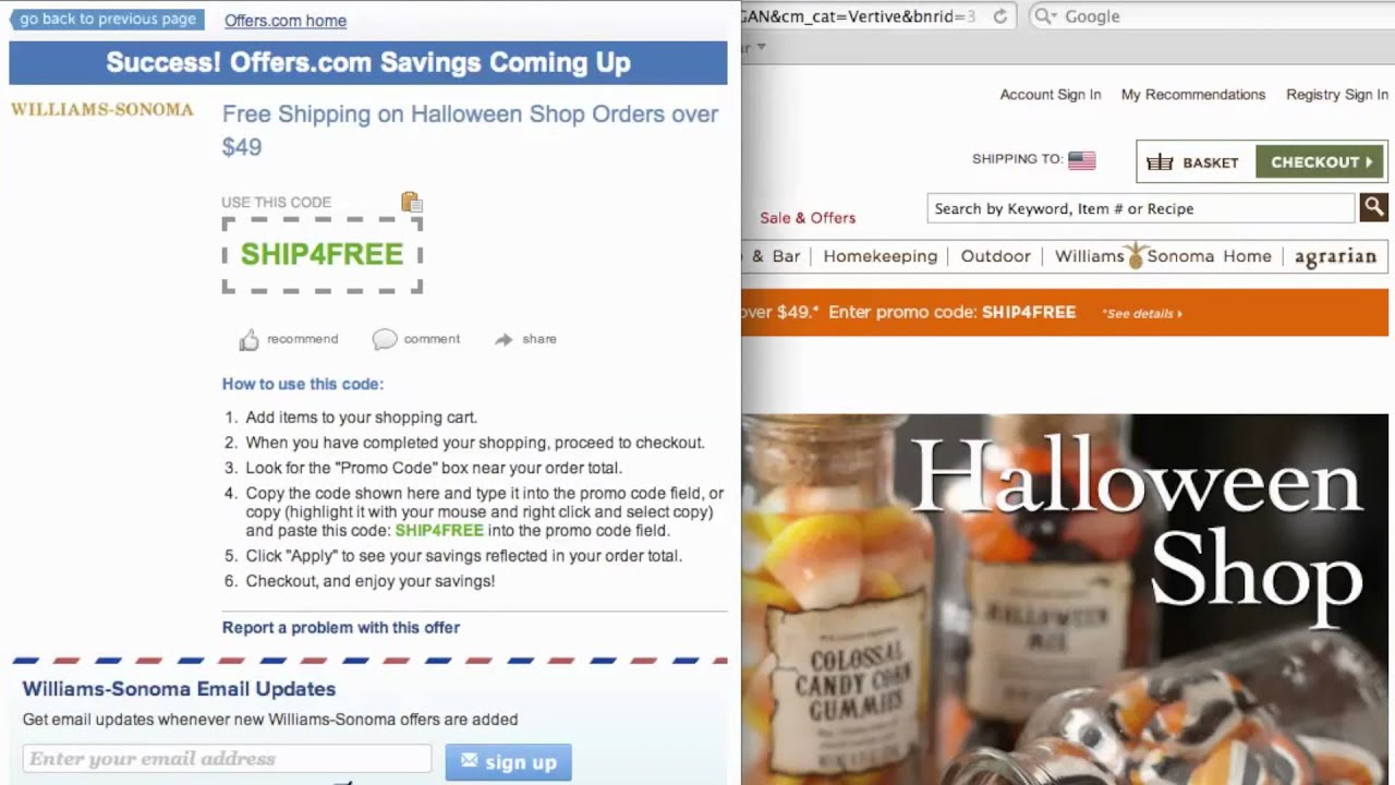 Williams and sonoma coupons