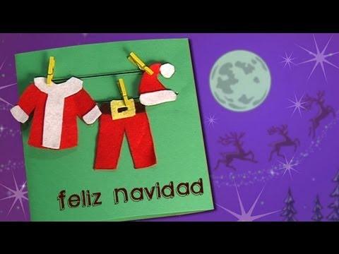 Postal con la ropa de pap noel haz tus propias - Tarjetas de navidad hechas por ninos ...