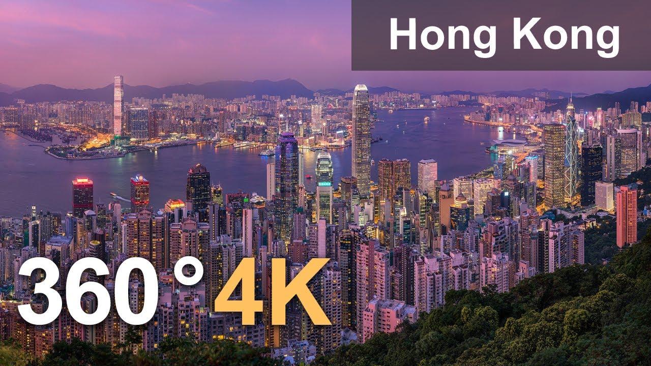 Hong Kong. City of Skyscrapers. Aerial 360 video in 4K