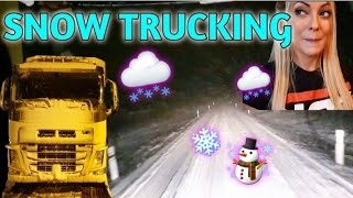 Trucking in the first snow - Angelica Larsson