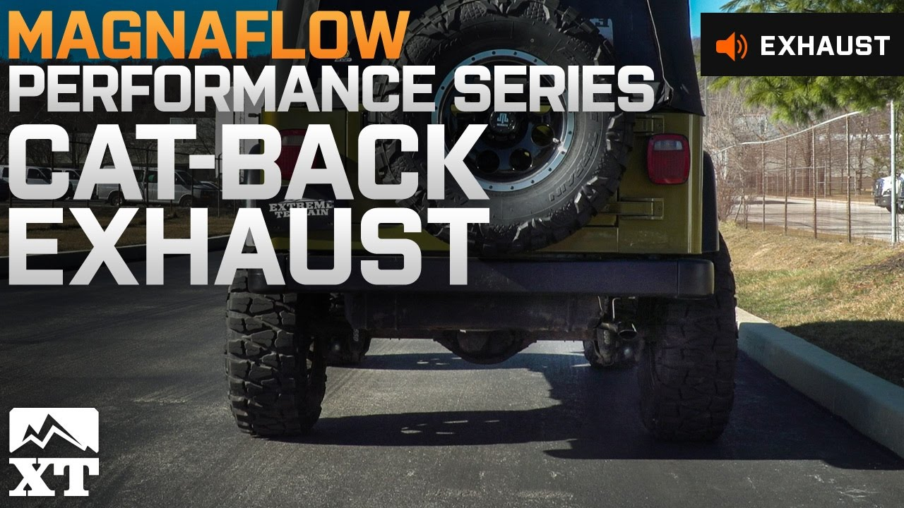 small resolution of jeep wrangler magnaflow performance series cat back exhaust system 97 99 tj sound clip instal