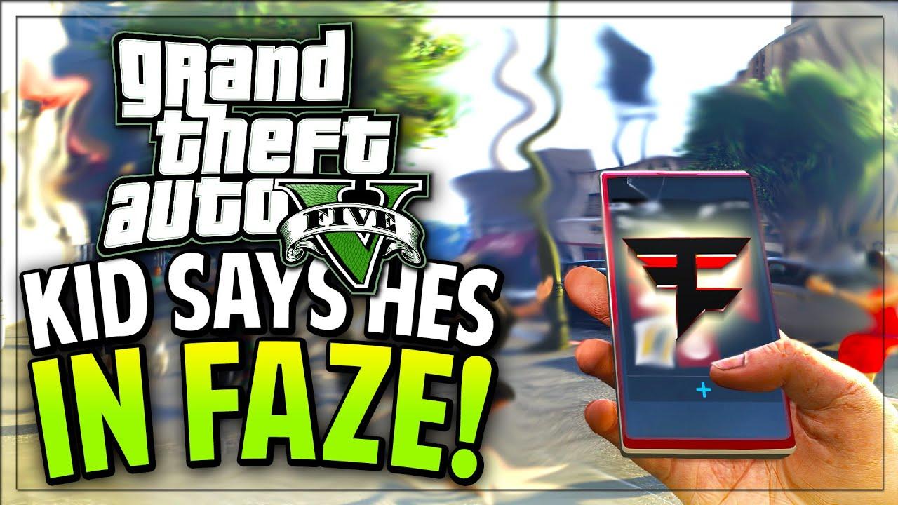 KID IS IN FAZE CLAN ON GTA 5! (GTA V Funny Moments/Trolling)