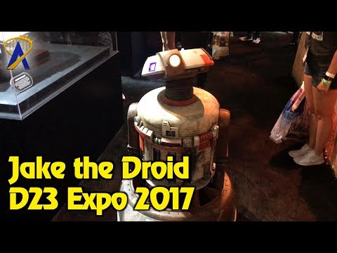 Jake the Droid roams around Disney Parks and Resorts Pavilion at D23 Expo 2017