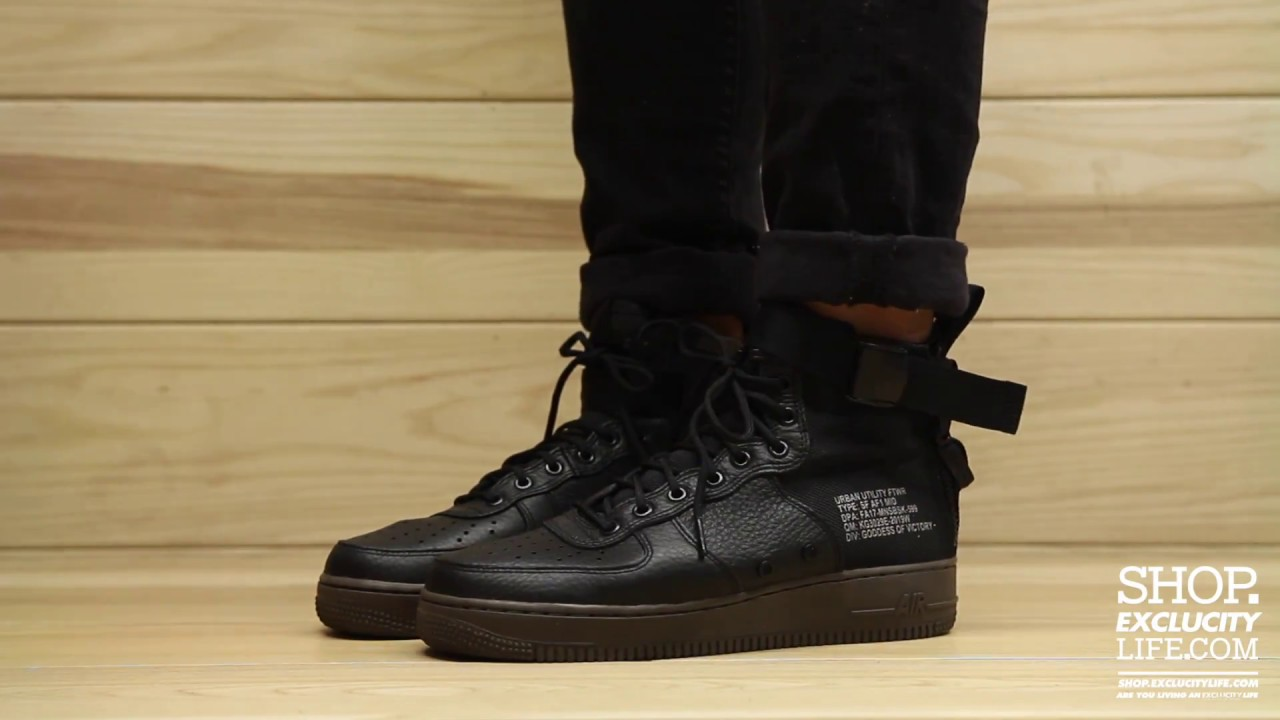 4d94e240a9 Nike Special Field Air Force 1 Mid Black Hazelnut On feet Video at Exclucity