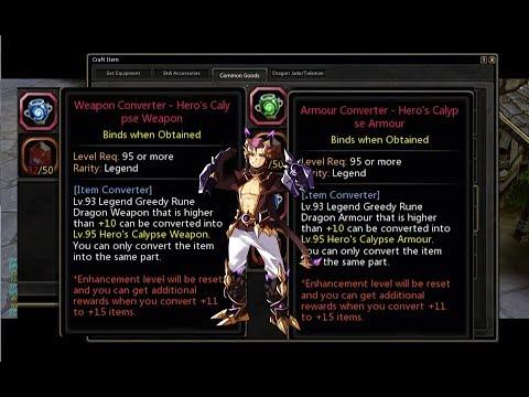 Convert Lv 95 Legend Item Converter Hero Calypse Speedcolie Dragon Nest Sea