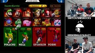Switch/SNESROCKS vs KrisKringle/Sleazy (Smash 64 doubles RainCity 2)