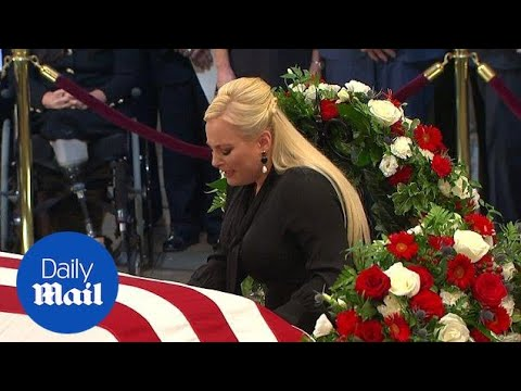 Meghan McCain weeps at father's coffin as she says final goodbye