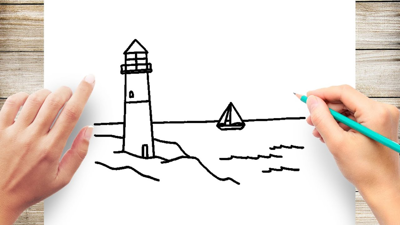 How To Draw Lighthouse By The Sea Easy Youtube