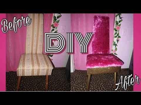 3ee398f1d60 DIY Glitter   Fur Vanity Chair   Annie Penta - YouTube