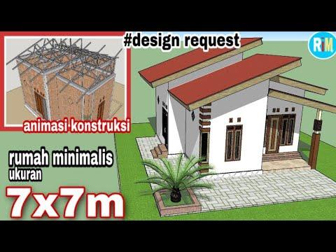 desain rumah minimalis 7x7 meter | desain sederhana - youtube