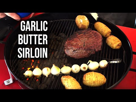 Garlic Butter Beef With Slit Roasted Potatoes