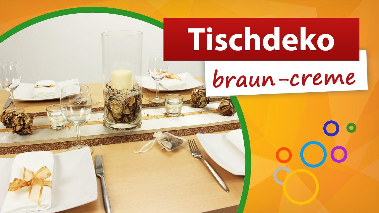 Tischdeko Braun Creme Tischdekoration Gestaltungsbeispiel