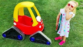 Baby Doll Ride On Cozy Coupe - Elis assists with NEW Wheels and Pink Jeep