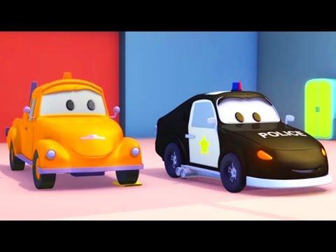 Tom la Dépanneuse et la Voiture de Police à Car City  Voitures et Camions, dessin animé pour enfants