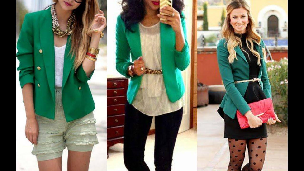 Combinar blazer verde menta mujer