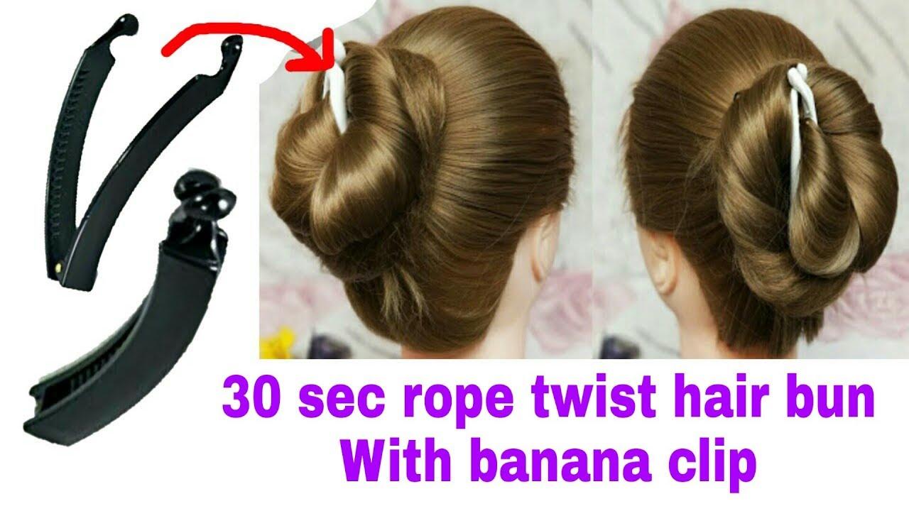 wedding rope twist hair bun with banana clip for function    stylopedia