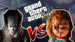 PENNYWISE IT VS CHUCKY GTA V ! ( ESO LA PELICULA 2017 ) ROBANDO EL COCHE DE PENNYWISE