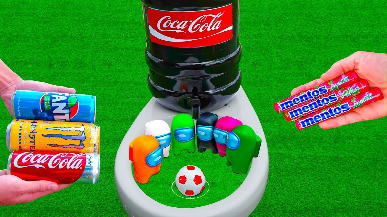 Football vs Among US | Experiment : Super Giant Coca Cola, Fanta, Monster and Mentos in the toilet