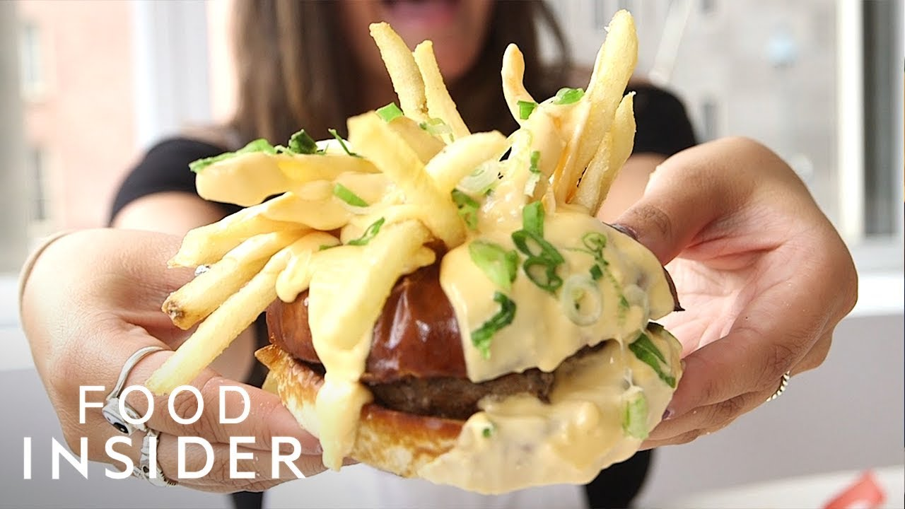 Melted Cheese Fondue Burger In NYC