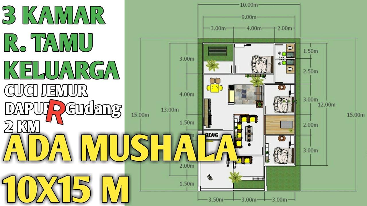 denah rumah 10x15 1 lantai 3 kamar tidur